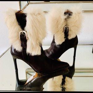 Donald J Pliner Leather/Long Hair Shearling Boots